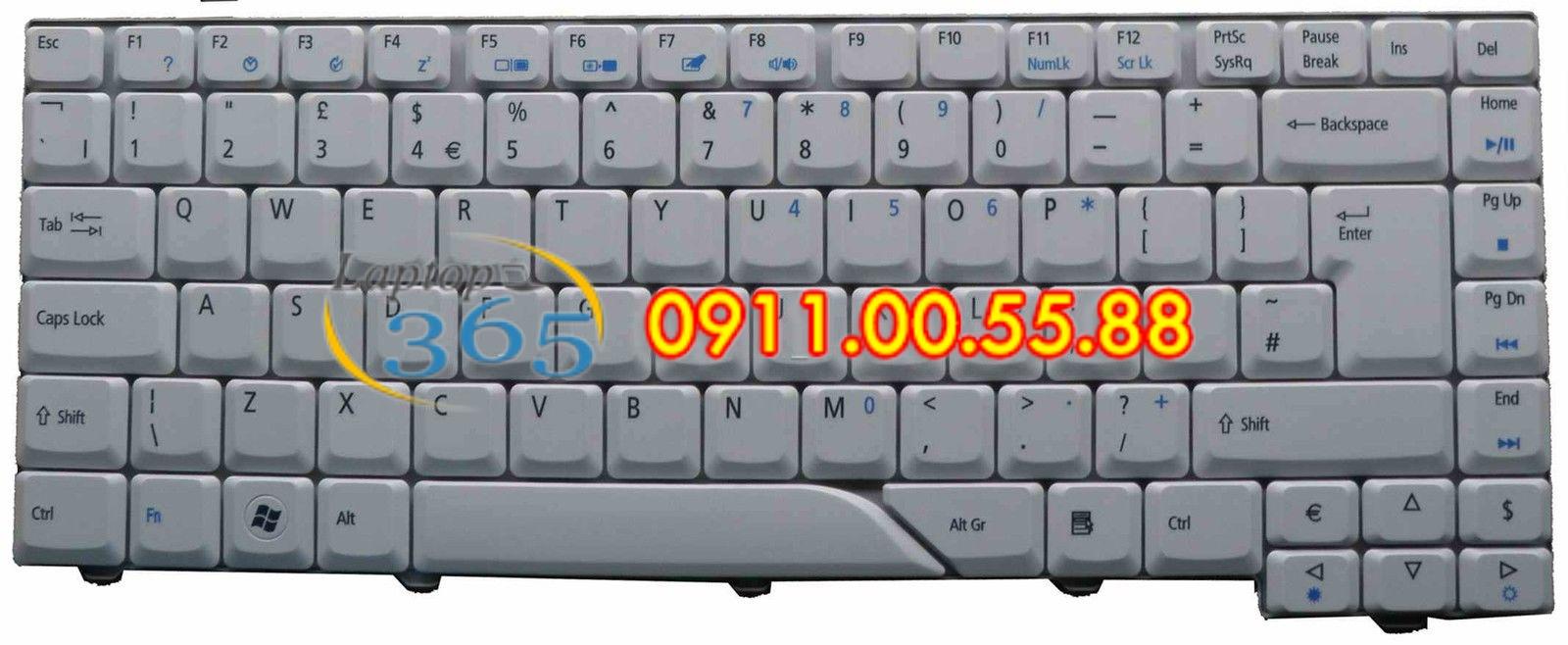 Bàn Phím Laptop Acer Aspire 5720 (trắng/đen)