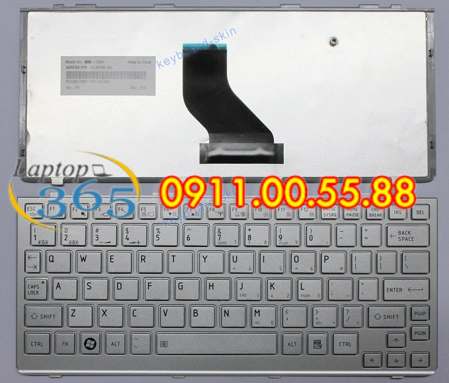 Bàn Phím Laptop Toshiba NB505 trắng
